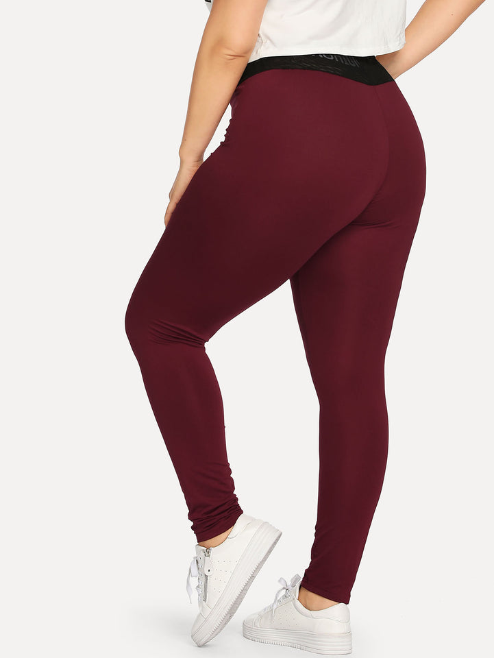 Plus Letter Tape Panel Leggings