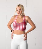Fuchsia Gingham Plaid Sports Top