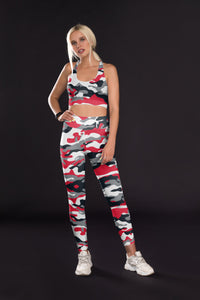 Red Black Silver Camo Sports Top