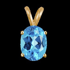 1 Ct Swiss Blue Topaz Pendant 14k White or Yellow Gold