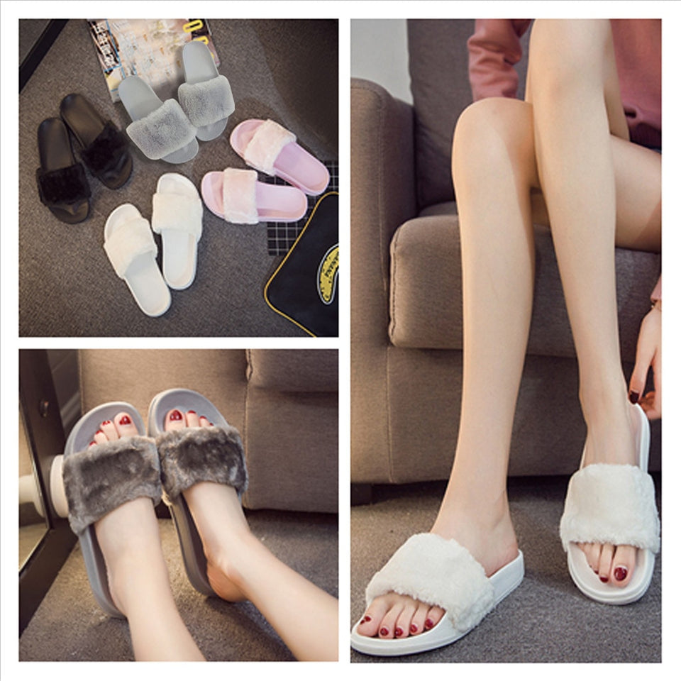 Fluffy Faux Fur Flat Slipper