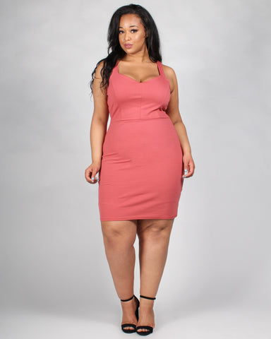 Plus-sized mauve tank dress with sweetheart neckline