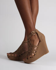 Women's tan platform wedge sandals