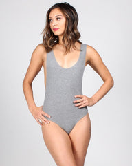 Light gray, ribbed bodysuit with scoop neck and low-cut armholes