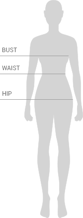 Generic woman's silhouette with body measurements