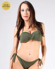 Olive-colored bikini with side tie bottom