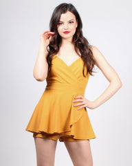 Mustard yellow romper with faux-wrap mini