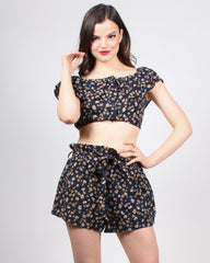 Floral two-piece short set with cropped top