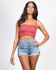 Dark pink ruched crop top with denim shorts
