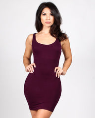 Plum-colored bodycon tank dress with scoop neckline