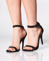 Women's black sandals w/ skinny heel and ankle strap