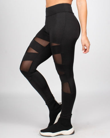 Black women's tights with sheer cut-outs