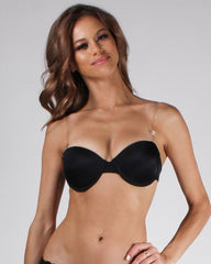 Woman wearing black push-up bra with clear straps