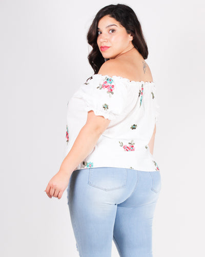 The Best is Yet to Come Floral Plus Top (White)