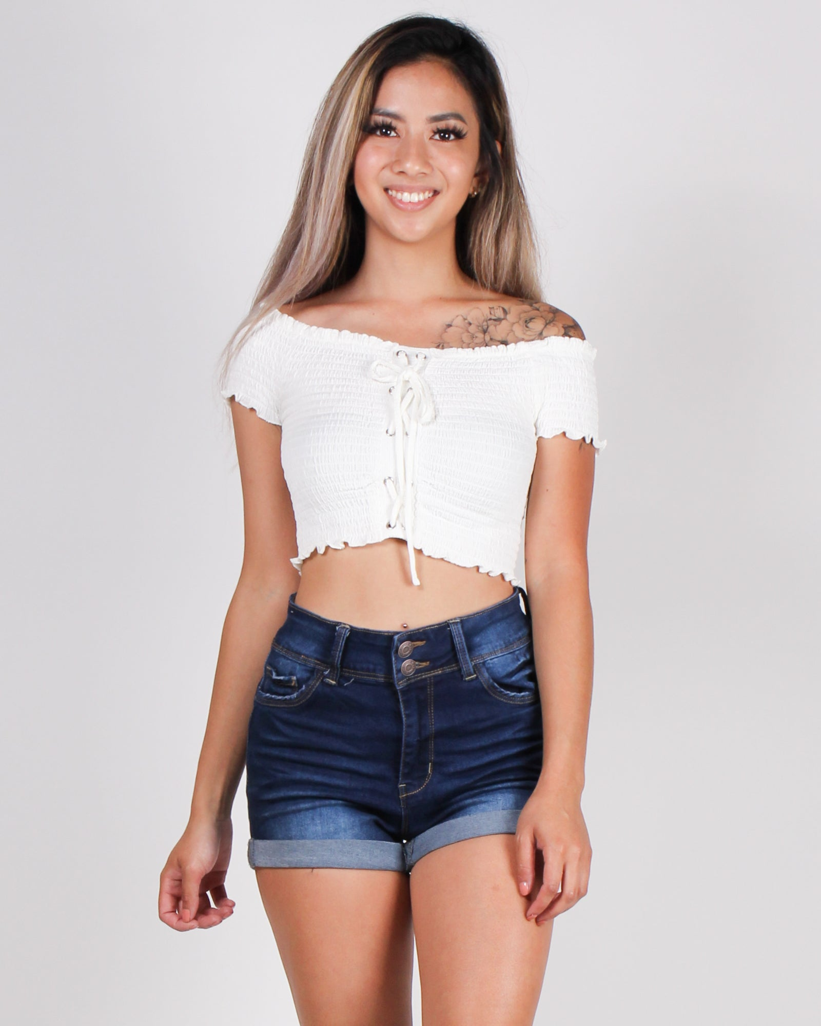 Fashion Q Shop Q I Regret Nothing Smocked Tube Top (White) 2294TK