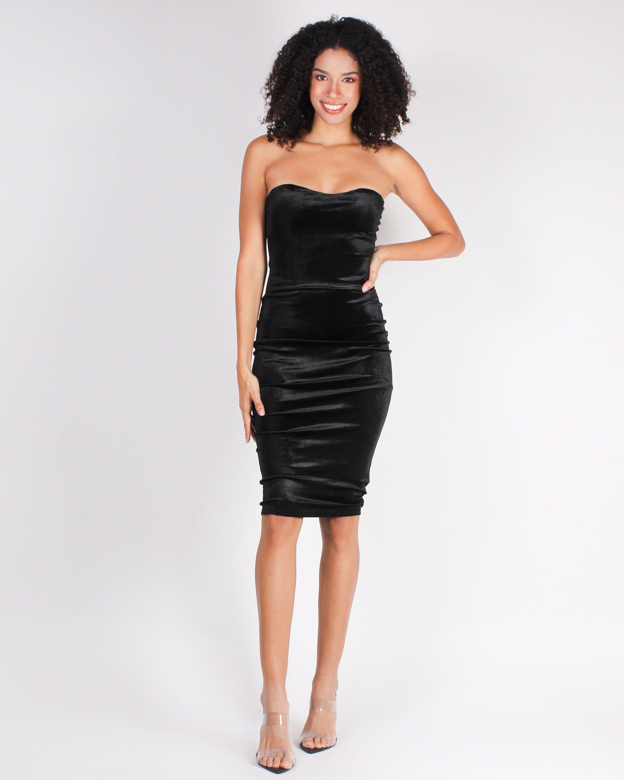 Fashion Q Shop Q And the Winner is You Velvet Midi Bodycon Dress (Black) 4101D15216