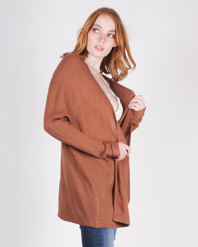 Fashion Q Shop Q Tag You're It Cardigan (Chestnut) 50952