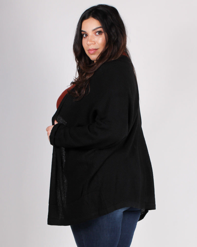 Fashion Q Shop Q Tag You're It Plus Cardigan (Black) 50952P