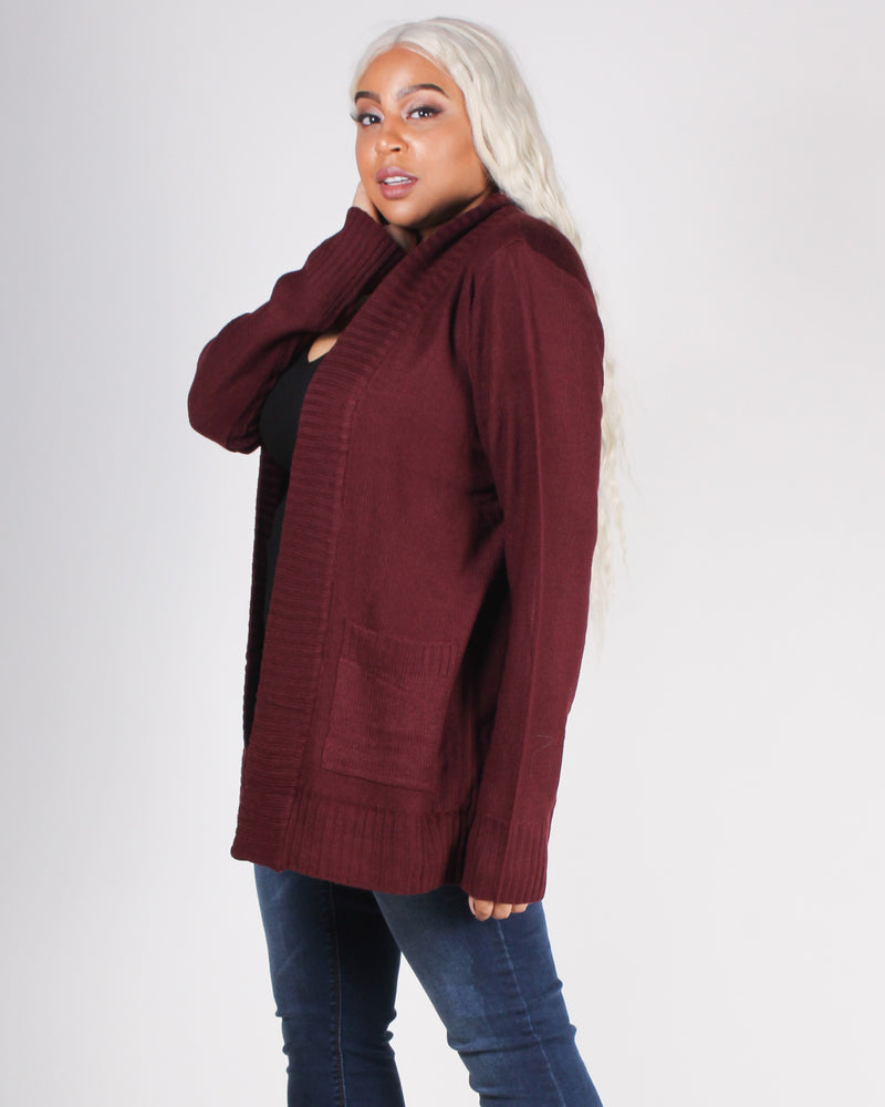 Fashion Q Shop Q Enchanted to Meet You Plus Cardigan (Burgundy) 65347XL