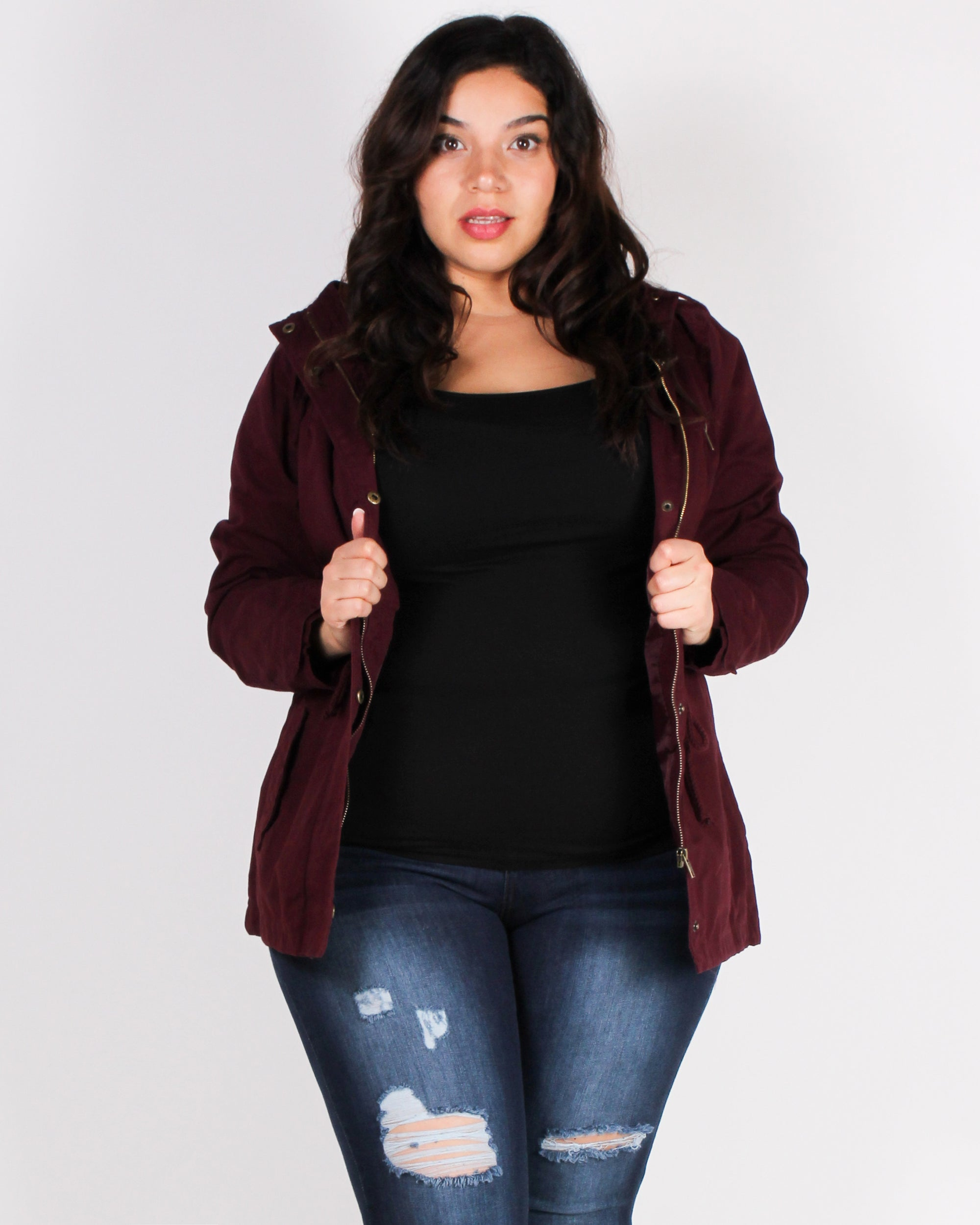 Love the Way You Look Parka Plus Jacket (Burgundy)