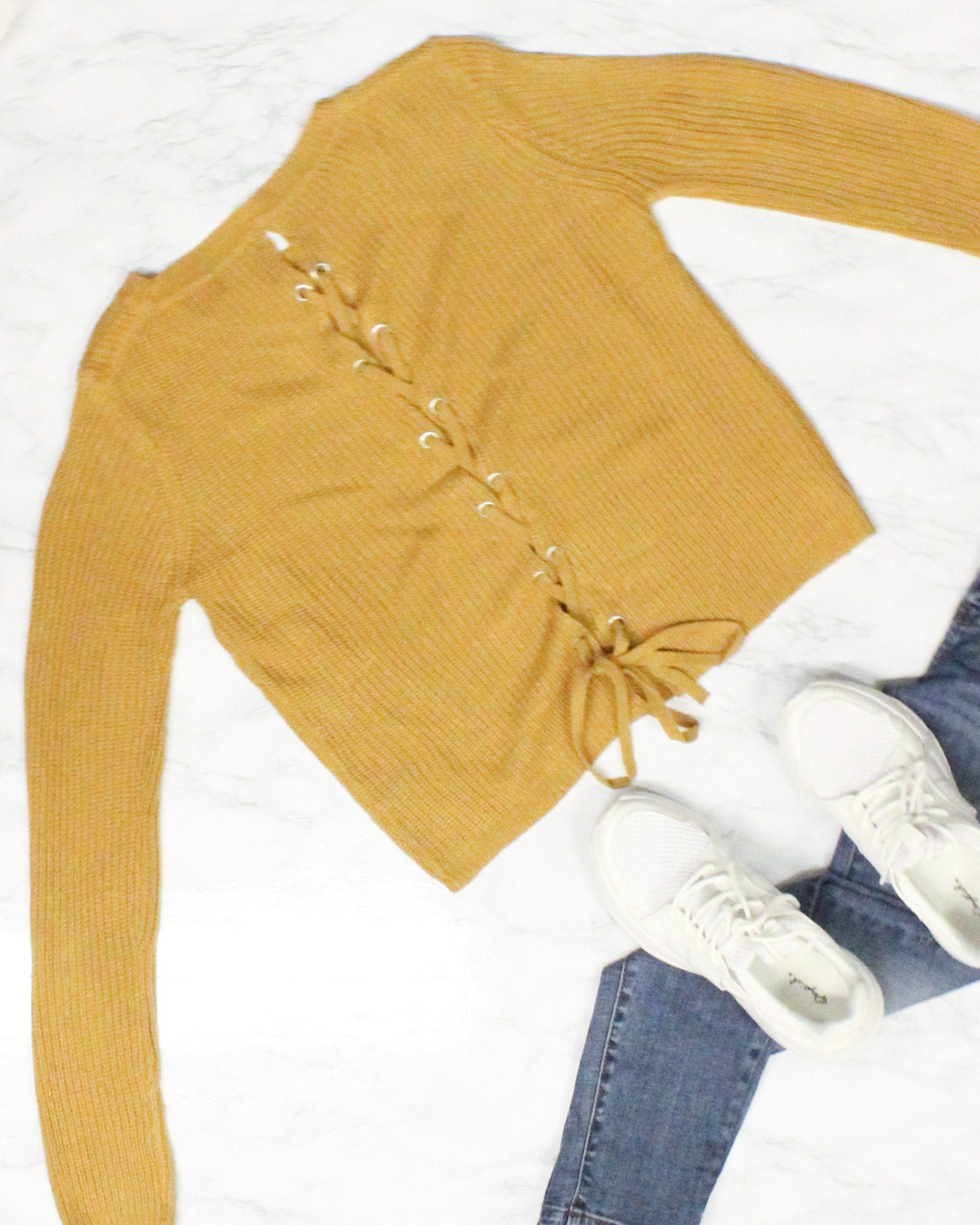 Fashion Q Shop Q A Good Vibe State of Mind Sweater (Dark Mustard) 65919