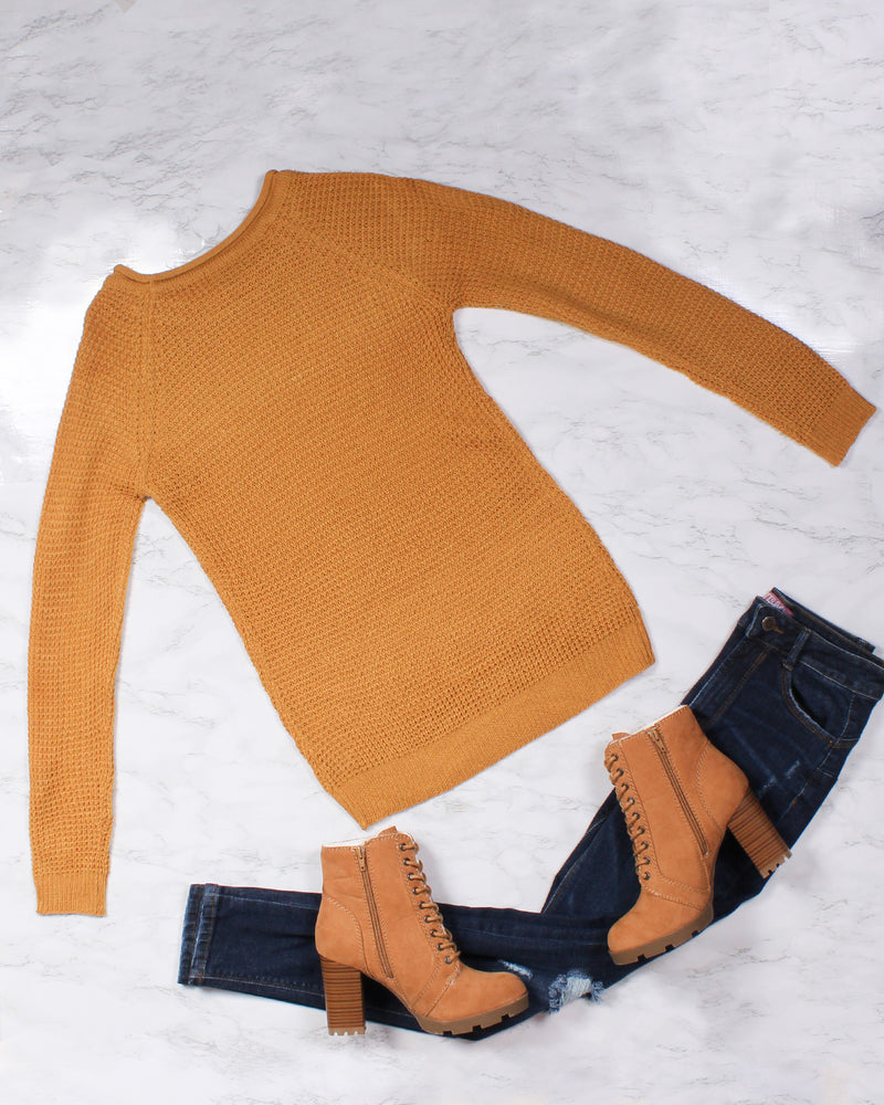Fashion Q Shop Q The Seek and You Shall Find Knit Sweater (Mustard) 67907