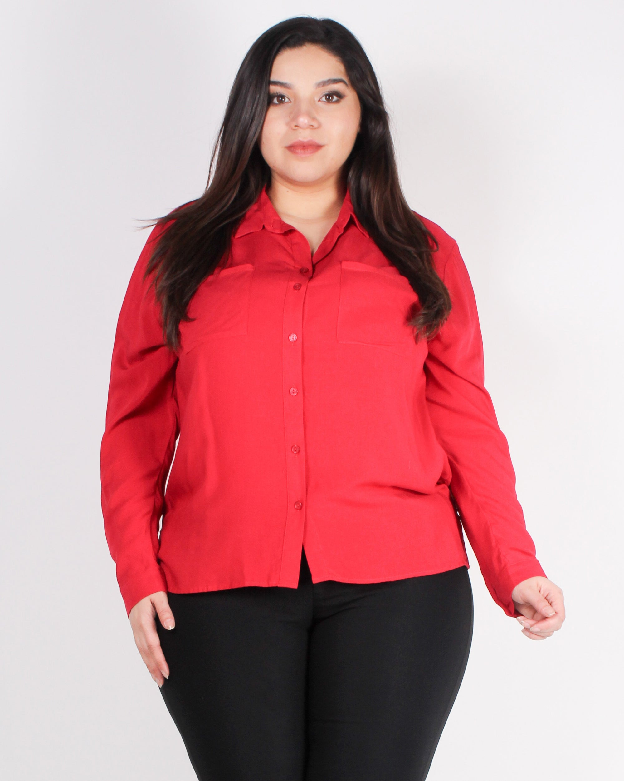 Never Underestimate Yourself Button-up Plus Top (Red)