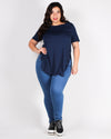 The Femme Fatale Short Sleeve Plus Top (Navy)