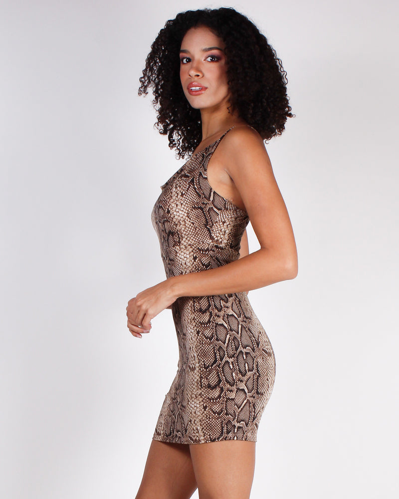 Fashion Q Shop Q Live to Stand Out Snake Print Bodycon Dress (Snakeskin) 6A3485