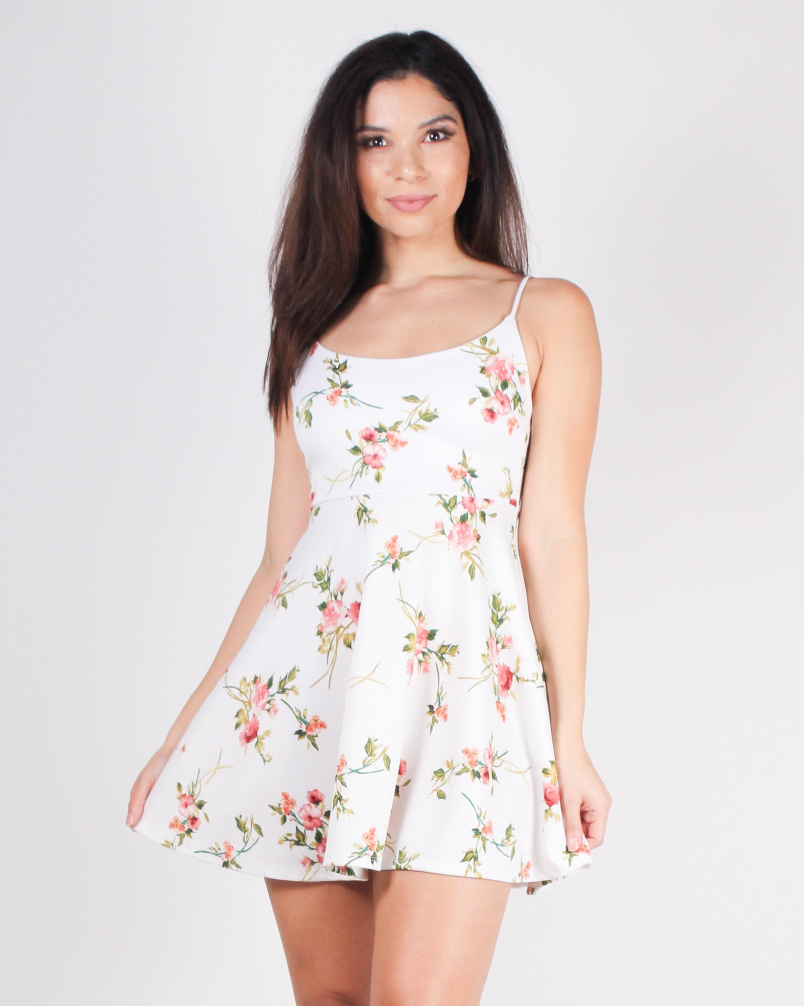 Bloom Where You Stand Floral Sundress (White)