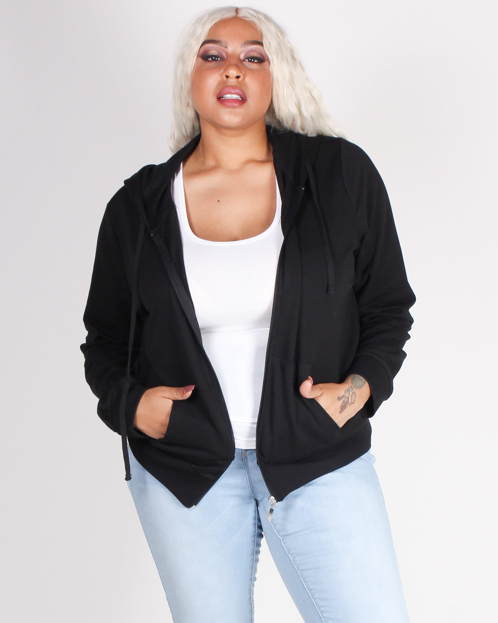 Fashion Q Shop Q Exactly Where You Need to Be Plus Zip-up Hoodie (Black) 70675XL