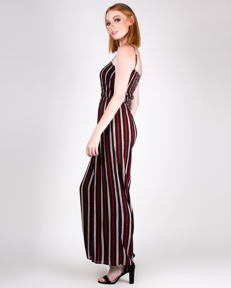 Striping Worth it Jumpsuit (Black)