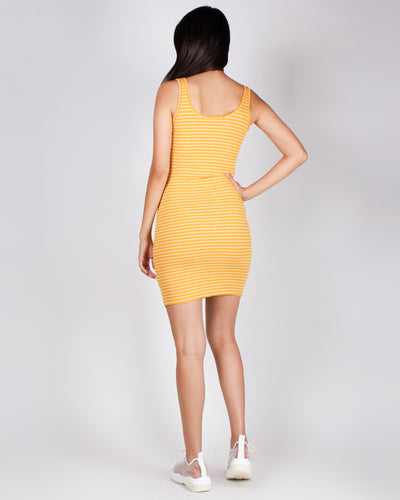 Fashion Q Shop Q Call You Mine Striped Bodycon Dress (Mustard) 71144-1