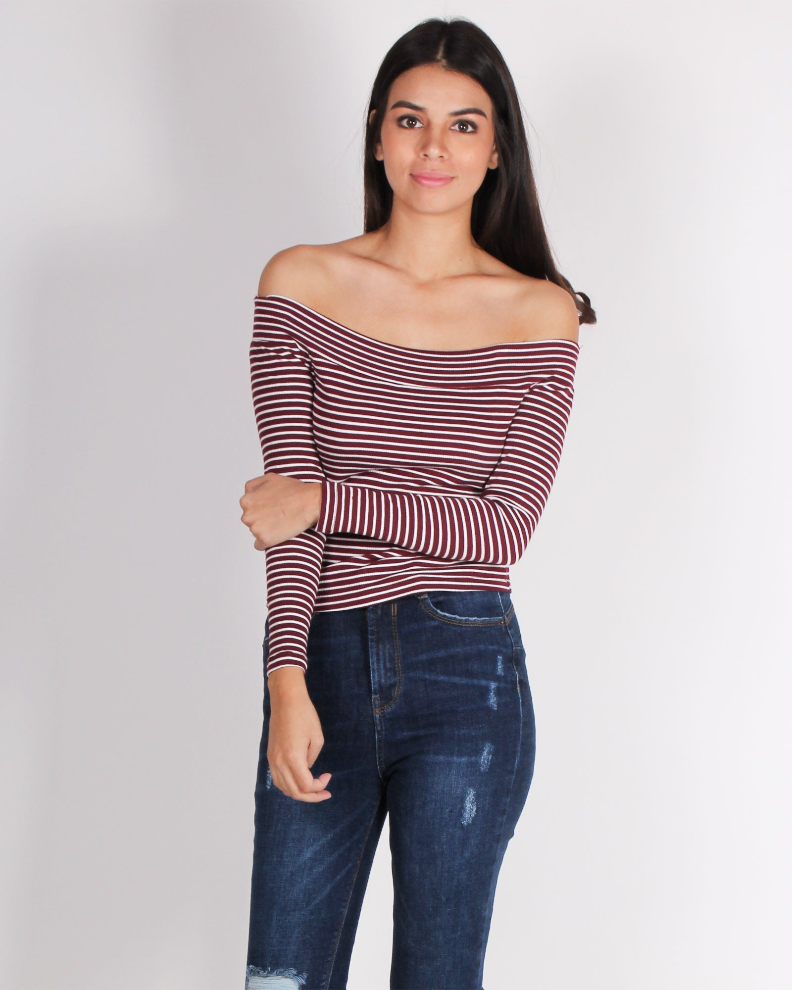 Fashion Q Shop Q You Have What it Takes Off the Shoulder Top (Burgundy) 71172