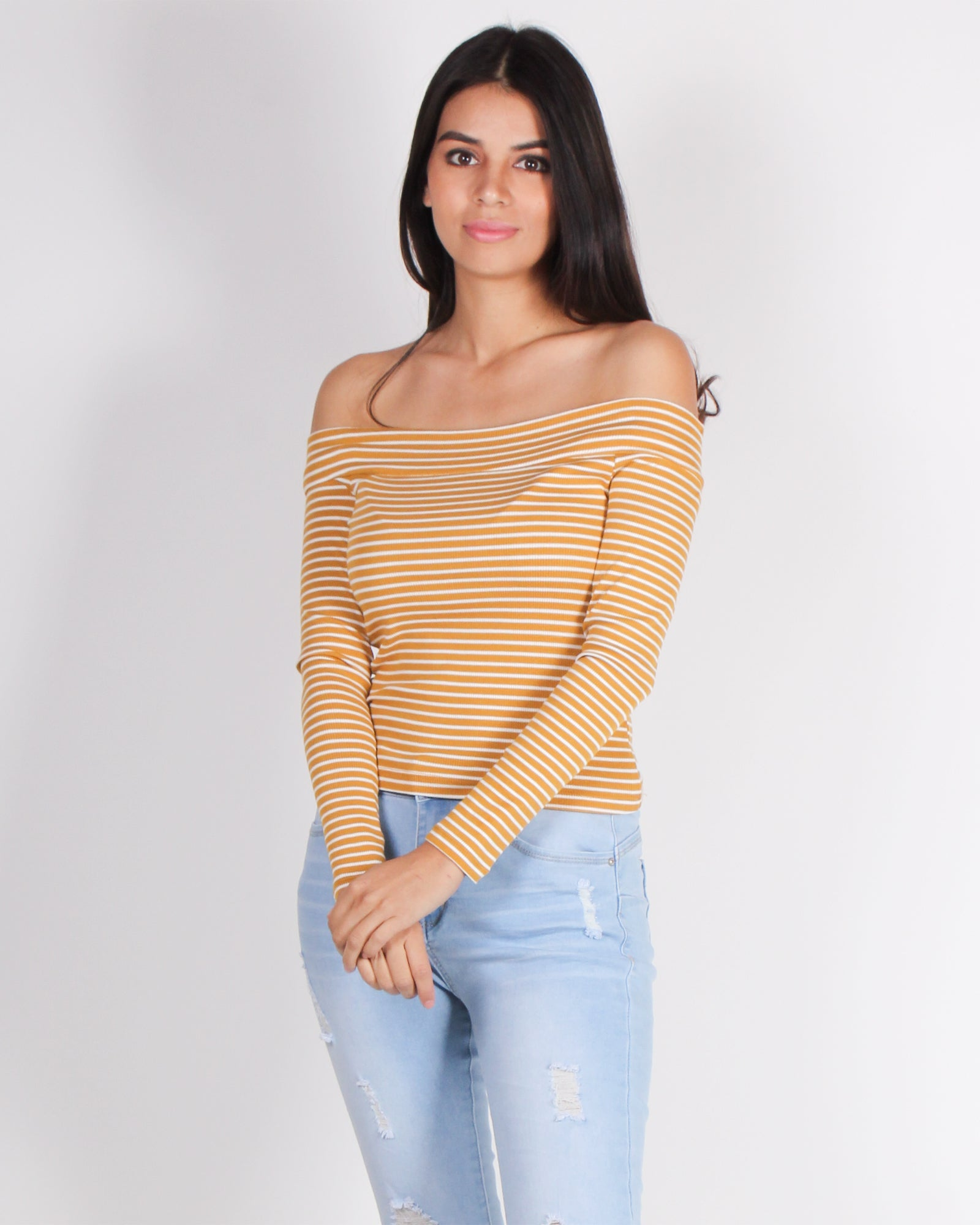 Fashion Q Shop Q You Have What it Takes Off the Shoulder Top (Mustard) 71172