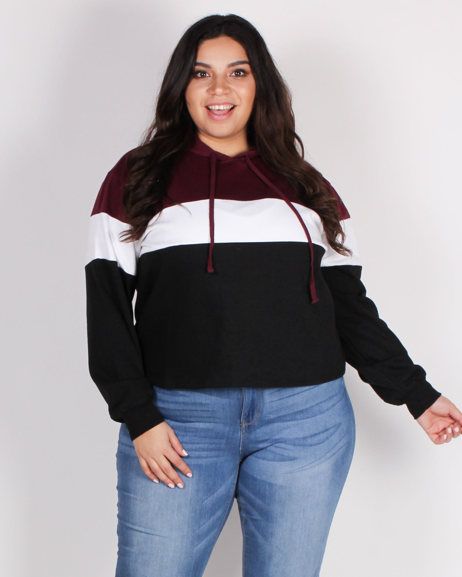 Fashion Q Shop Q Go With the Flow Colorblock Plus Hoodie (Burgundy) 71266XL