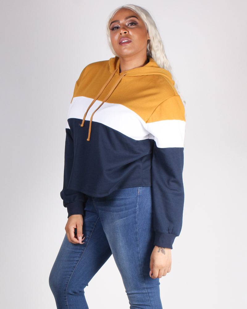 Fashion Q Shop Q Go With the Flow Colorblock Plus Hoodie (Mustard) 71266XL