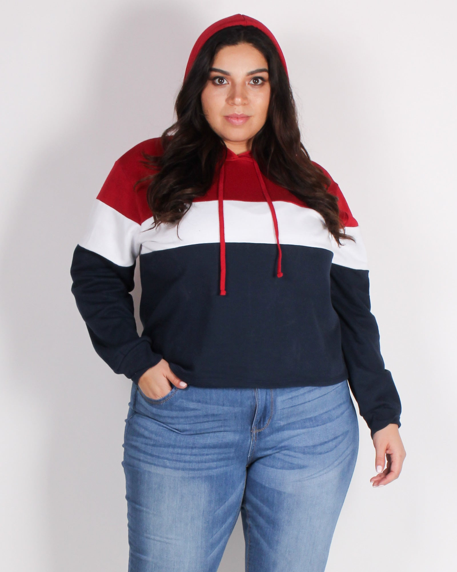 Fashion Q Shop Q Go With the Flow Colorblock Plus Hoodie (Red) 71266XL
