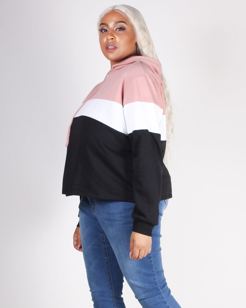 Fashion Q Shop Q Go With the Flow Colorblock Plus Hoodie (Rose) 71266XL