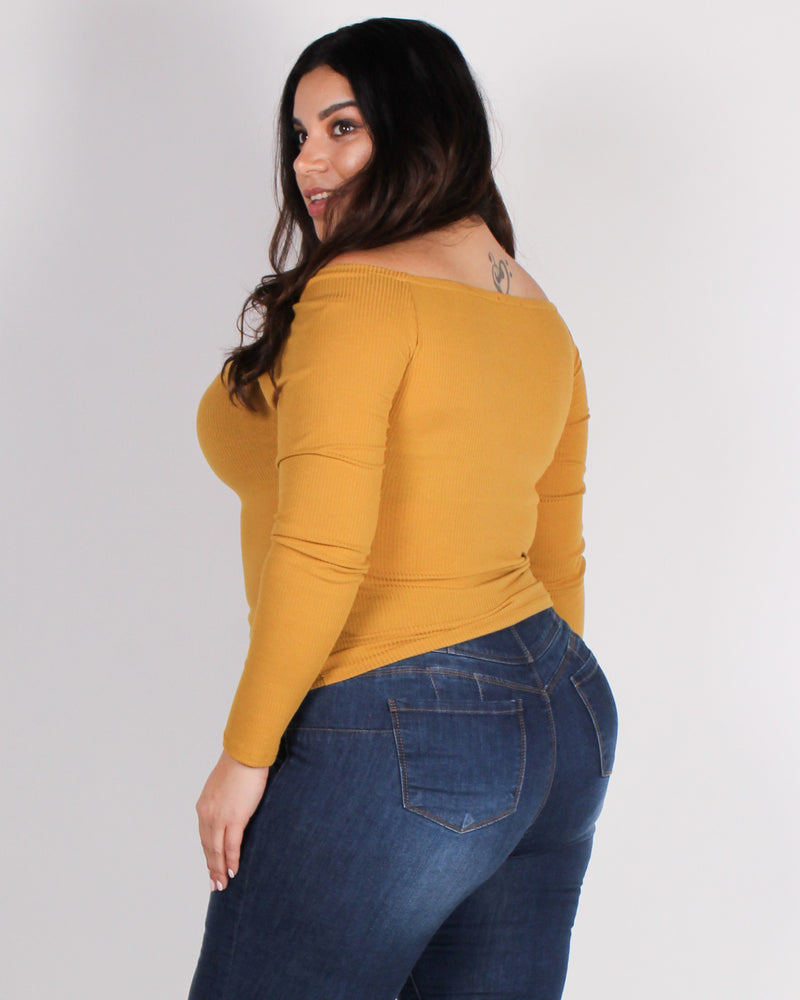 Fashion Q Shop Q No Introduction Needed Off the Shoulder Plus Top (Mustard) 71283XL