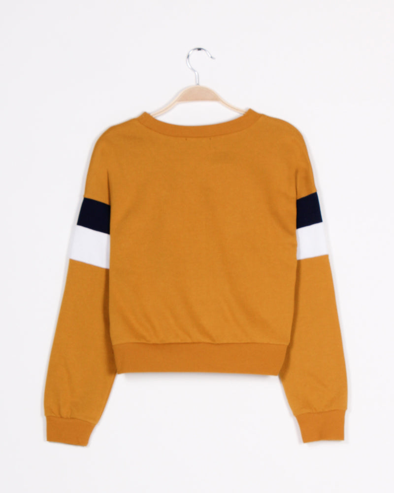 Fashion Q Shop Q Never Give Up Colorblock Sweater (Dark Mustard) 71290