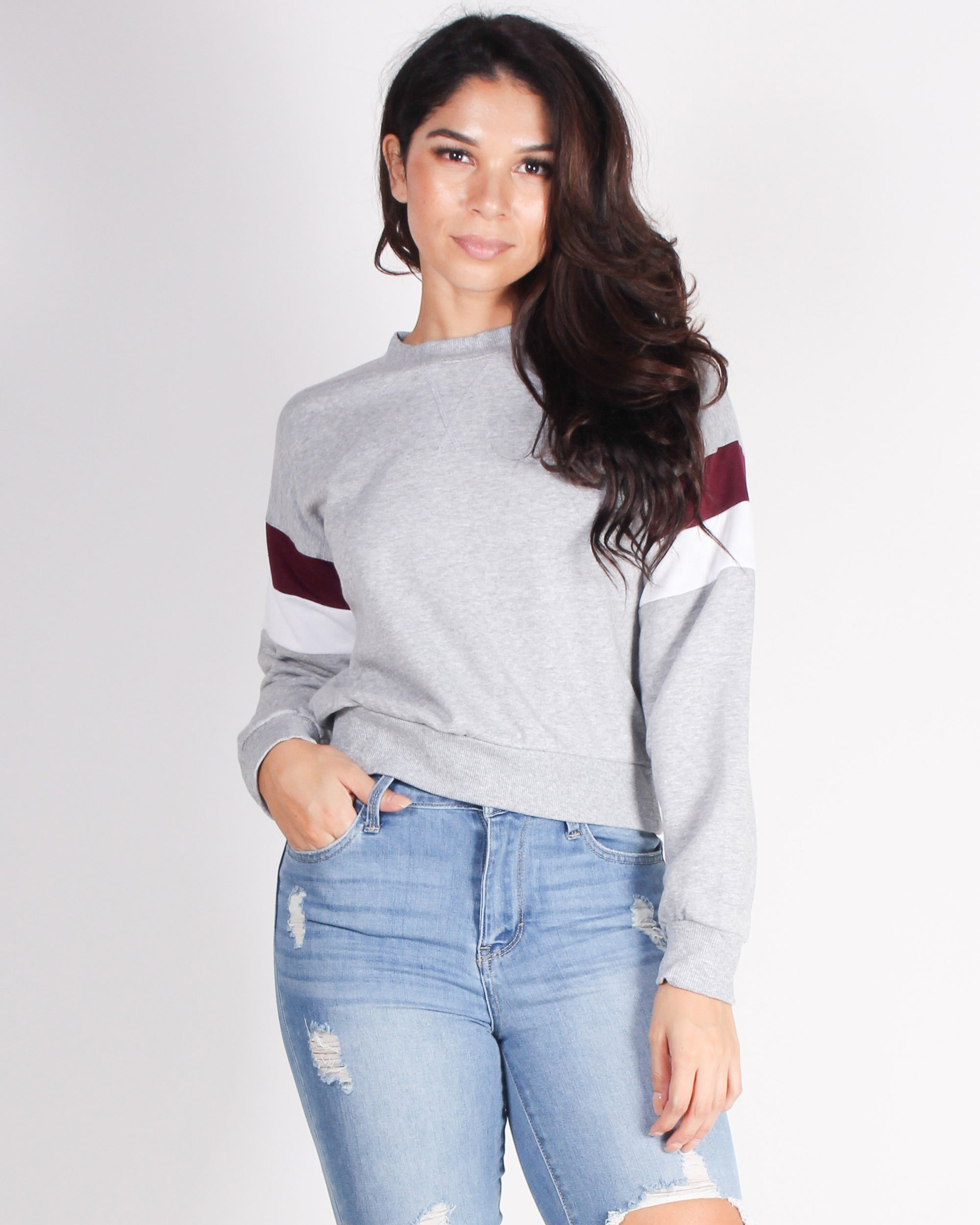 Fashion Q Shop Q Never Give Up Colorblock Sweater (Grey) 71290