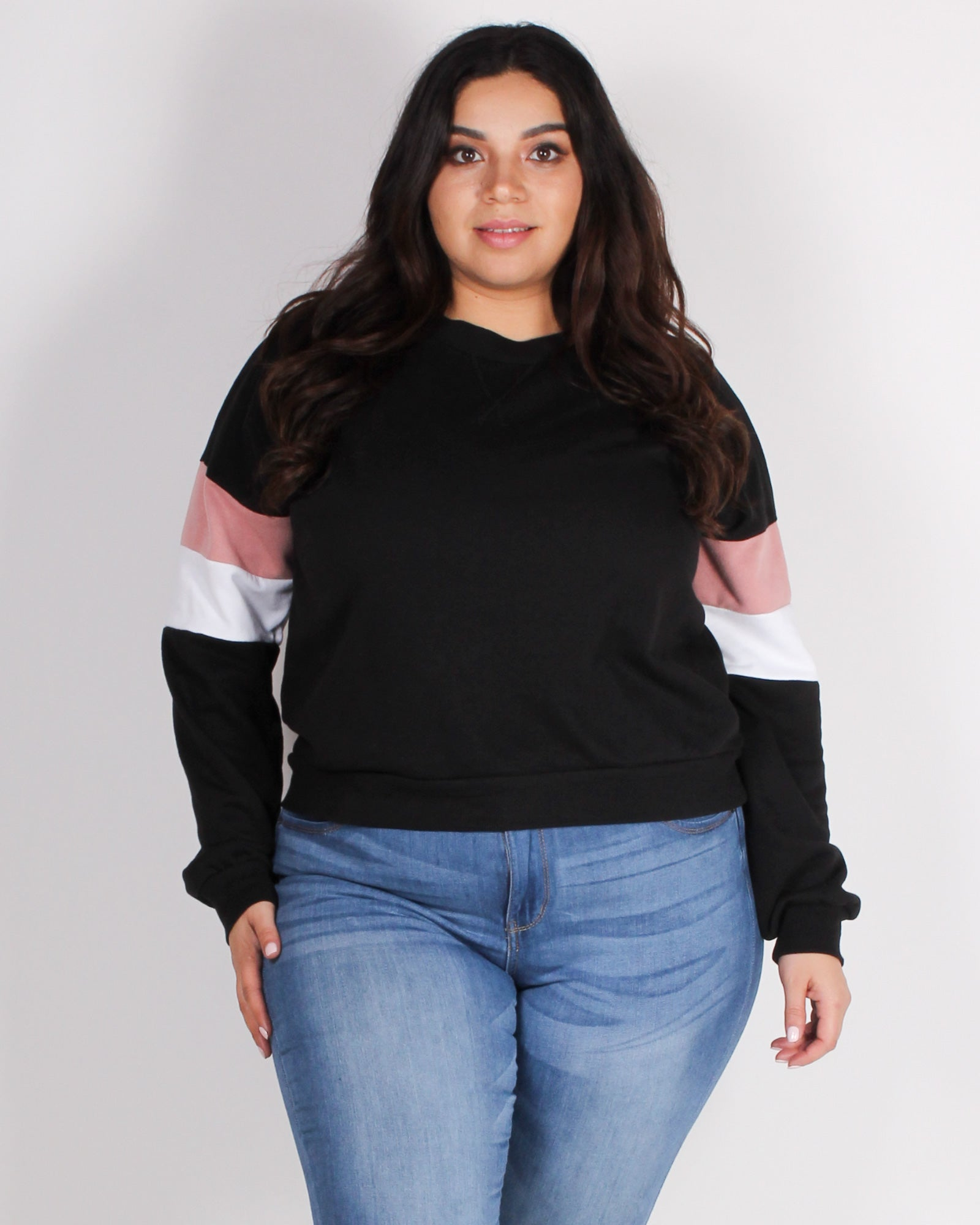 Fashion Q Shop Q Never Give Up Colorblock Plus Sweater (Black) 71290