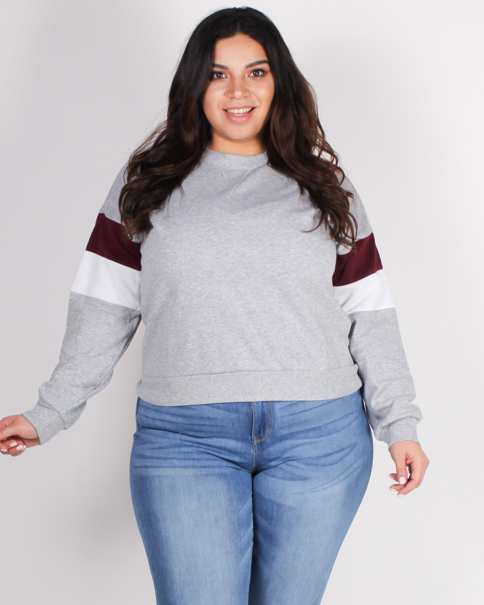 Fashion Q Shop Q Never Give Up Colorblock Plus Sweater (Heather Grey) 71290