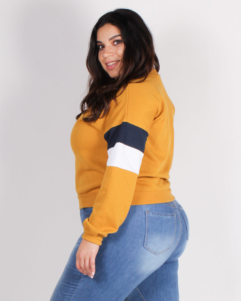 Fashion Q Shop Q Never Give Up Colorblock Plus Sweater (Mustard) 71290