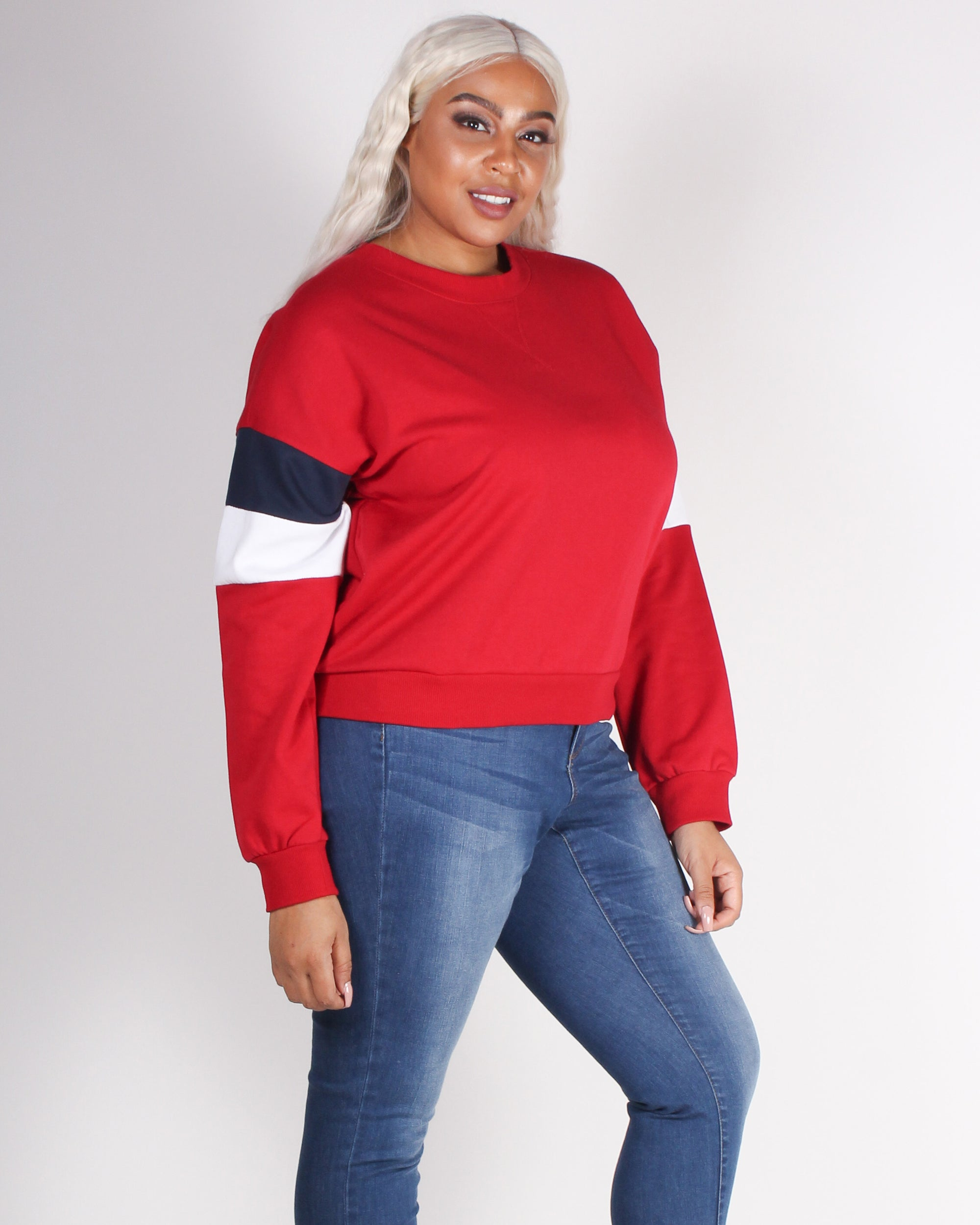 Fashion Q Shop Q Never Give Up Colorblock Sweater (Red) 71290XL