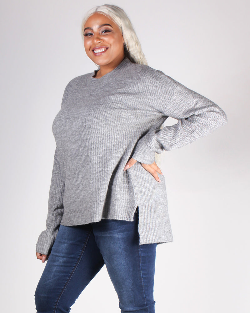 Fashion Q Shop Q A Soft Reminder Plus Sweater (Heather Grey) 71458XL