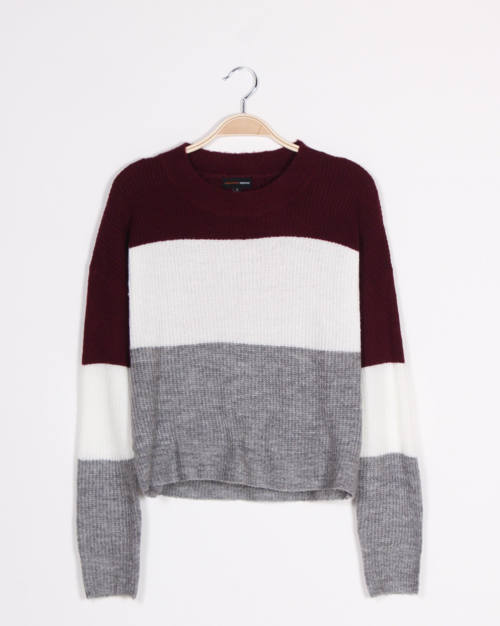 Fashion Q Shop Q Soft, But Fierce Colorblock Sweater (Burgundy) 71491