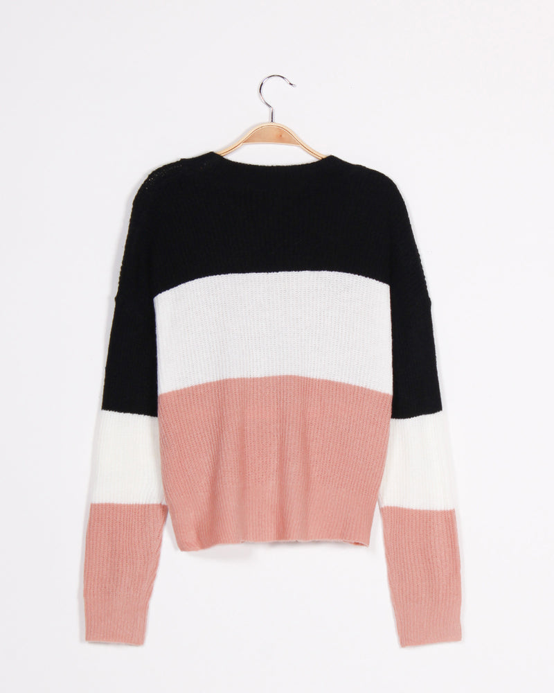 Fashion Q Shop Q Soft, But Fierce Colorblock Sweater (Mauve) 71491