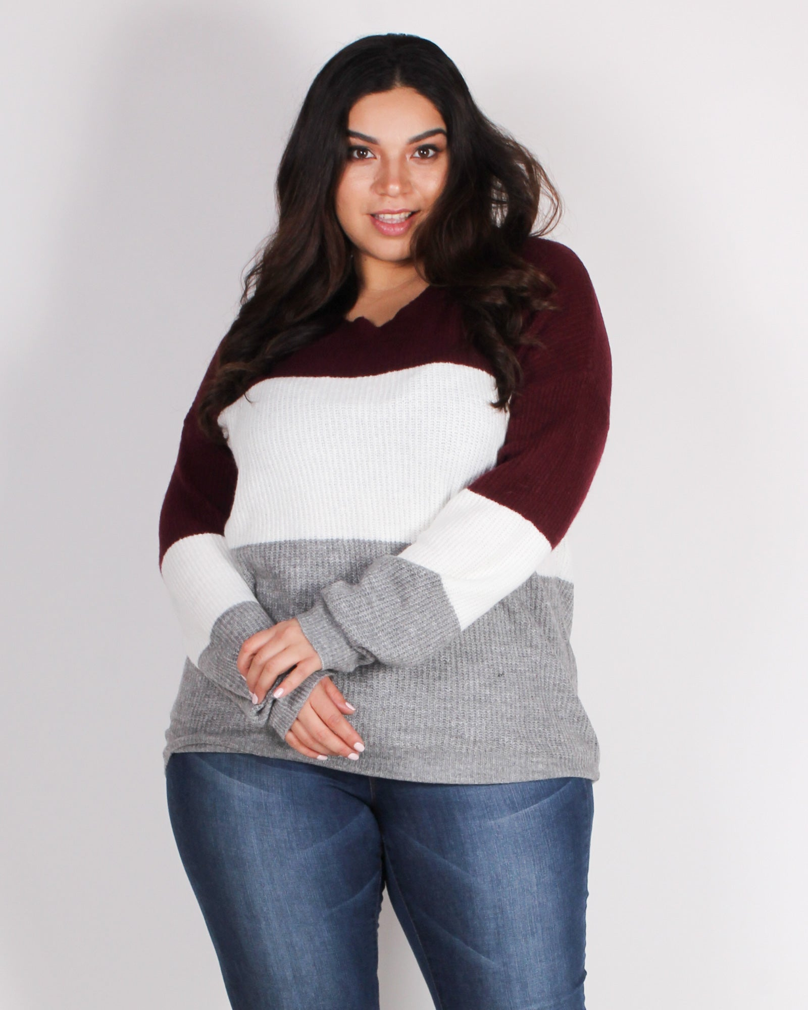 Fashion Q Shop Q You're Such a Softy Plus Sweater (Burgundy) 71491